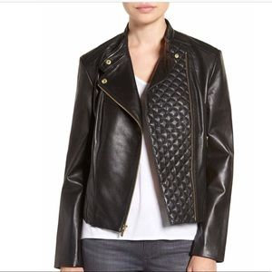 COLE HAAN Leather black Moto Jacket NWT size M